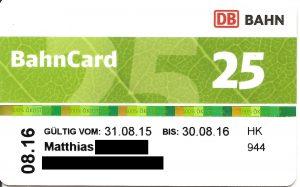 25% Rabatt mit der BahnCard 25