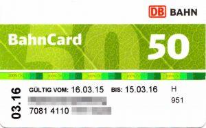 50% Rabatt mit der BahnCard 50